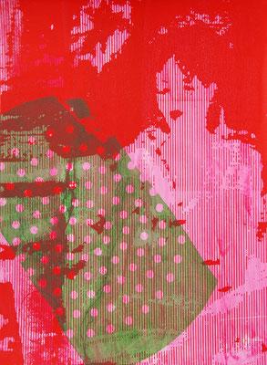 Art contemporain, oeuvre d'art unique, sérigraphie d'une femme 38cm x28cm