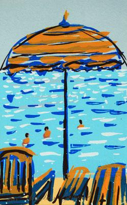 Paysage de bord de mer, vacances à la mer, sérigraphie originale, plage,parasol, mer turquoise, 15 exemplaires numérotés 10cm x 15cm