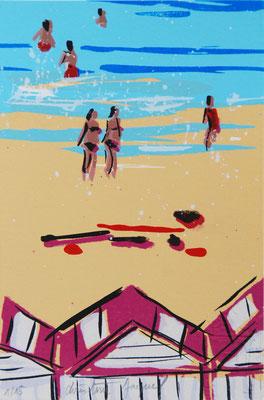 Sérigraphie originale d'un bord de mer avec des cabines de plages, 15 exemplaires numérotés, 10cm x 15cm