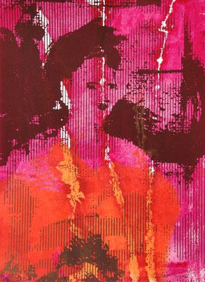 Sérigraphie originale d'un portrait de femme 38cm x28cm