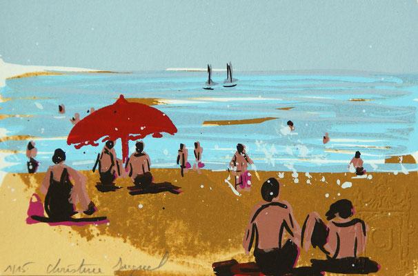 Sérigraphie originale,paysage de bord de mer,parasol rouge,baigneurs,vacances à la mer en France 15 exemplaires numérotés 10cm x 15cm