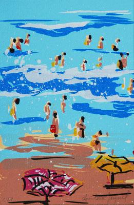 Sérigraphie originale d'une plage en France en été avec des vacanciers dans les vagues, série limitée