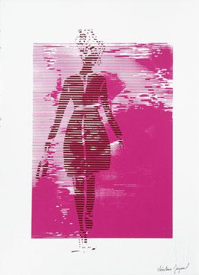 Silhouette de femme sur fond rose 38cm x28cm
