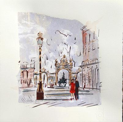 Technique mixte originale sérigraphie aquarelle et collage de la place Stanislas