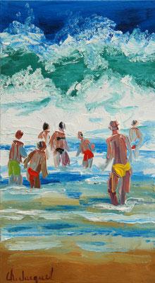 Peinture à l'huile de baigneurs dans la mer bleue 18cm x10cm