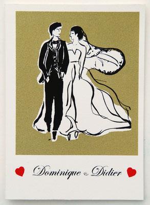 Faire part de mariage sur commande sérigraphie originale