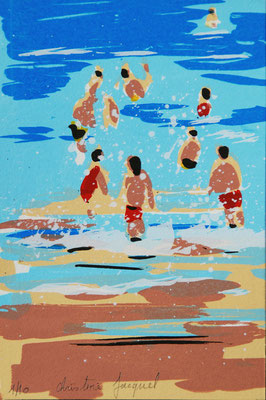 Sérigraphie en 10 exemplaires numérotés 10cm x 15cm de baigneurs dans la mer bleue