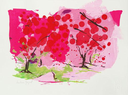Sérigraphie originale de cerisiers en fleurs