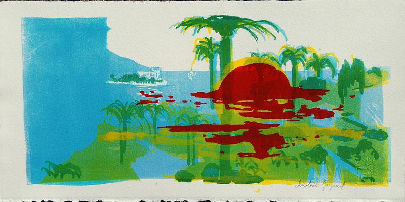 Technique mixte originale kitchenlitho et sérigraphie d'un paysage de bord de mer, soleil couchant