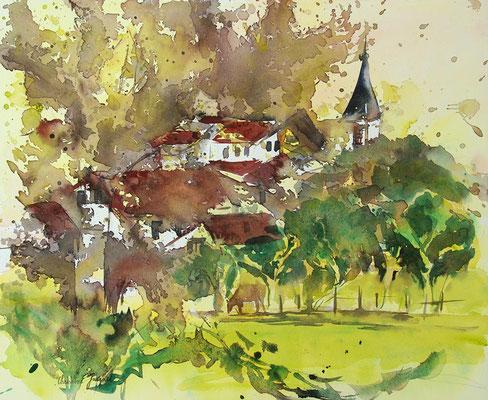 Aquarelle originale d'un village Lorrain