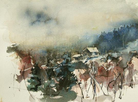 Aquarelle originale d'un village dans les Vosges
