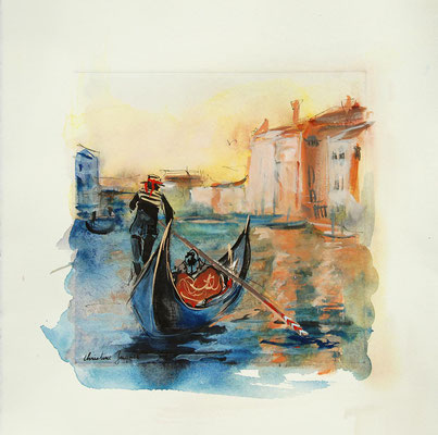 Peinture originale d'une gondole à Venise