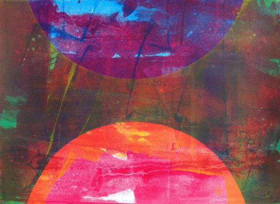 Art abstrait, sérigraphie originale 56cm x76cm