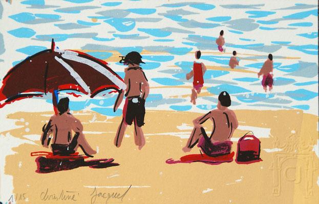 Sérigraphie originale d'un paysage de bord de mer,plage française,baigneurs,soleil,vacances à la mer en France, 15 exemplaires numérotés, 10cm x 15cm