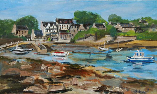 Peinture à l'huile d'un port breton 33cm x 55cm