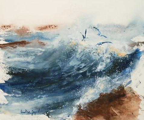Aquarelle originale de mouettes dans les vagues