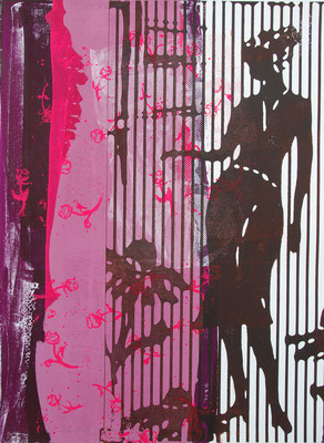 Profil de femme en sérigraphie originale 76cmx56cm