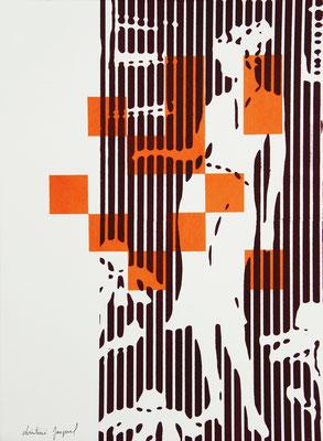 Sérigraphie moderne en lignes et carrés d'une femme 38cm x28cm