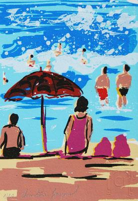 Art original, sérigraphie originale d'une plage avec des baigneurs, sable et mer bleue, 10 exemplaires numérotés,  10cm x 15cm