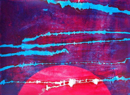 Art moderne et abstrait, sérigraphie magenta et bleue 56cm x76cm