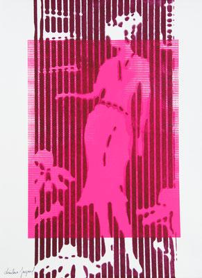 Sérigraphie originale d'une silhouette de femme 38cm x28cm