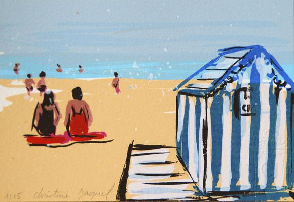 Paysage de bord de mer,plage française,cabine de plage, sérigraphie originale d'un bord de mer turquoise, 15 exemplaires numérotés, 10cm x 15cm