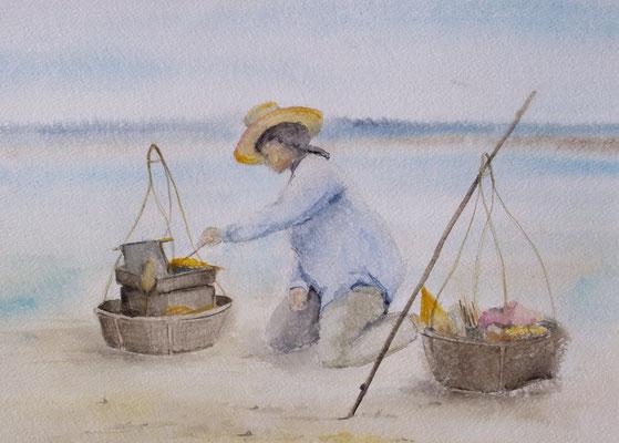 """Thailand, Kochen am Strand"" Aquarell"