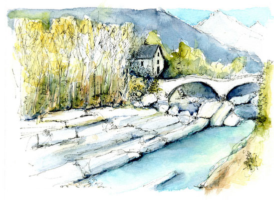 """Verzasca Lavertesso"" Tessin Aquarell"