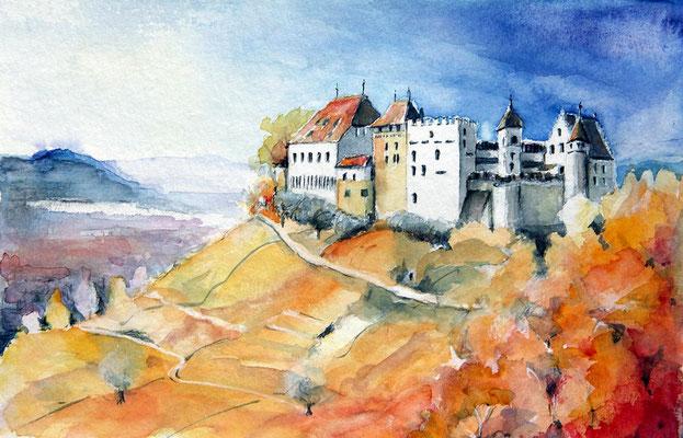 """""""Schloss Lenzburg"""" Aquarell"""