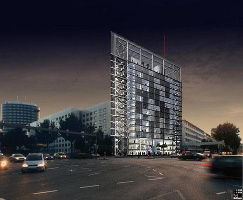 Architekturvisualisierung des Citytower in Dortmund. Für Drahtler Architekten  www.drahtlerarchitekten.de