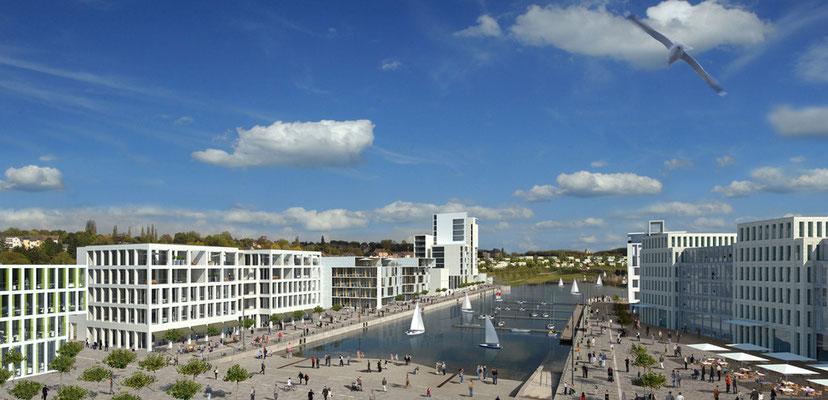 Architekturvisualisierung der Hafenbebauung am Phoenix See in Dortmund. Fotomontage.