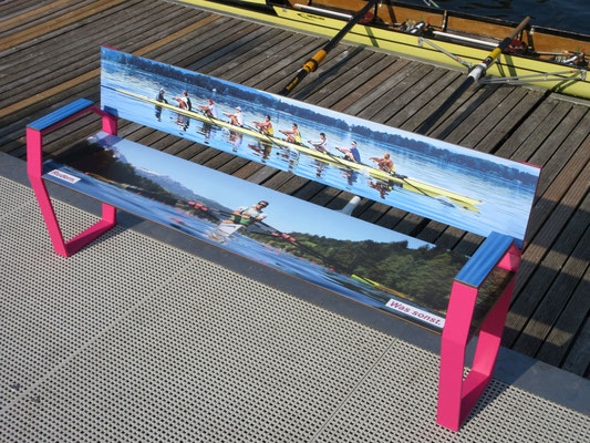 """""""Jazz 02 HPL Seat"""" - bench made of HPL and steel with armrests - individual decor and color coating possible! Robust and color stable."""