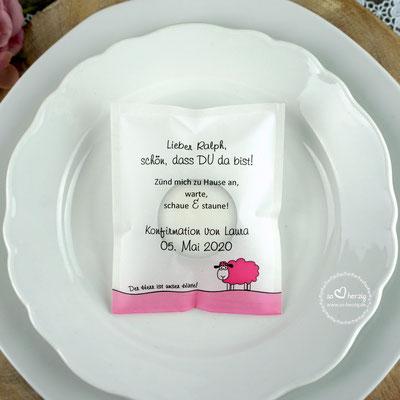 """Teelicht-Botschaft """"Verpackung als Platzkarte"""", Design Schaf pink - Sonderwunsch unterer Rand pink"""