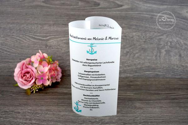 Menükarte Herz 17cm, Design Anker türkis - Sonderanfertigung