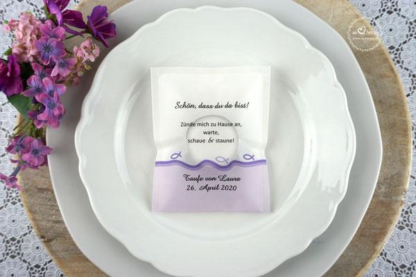 Licht-Botschaft zur Taufe, Design Fisch Silhouette Lila, Schrift Amazone BT