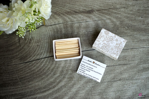 Streichholzschachtel-Spiel, Streichholzturm - Hochzeit Steffi & Stephan