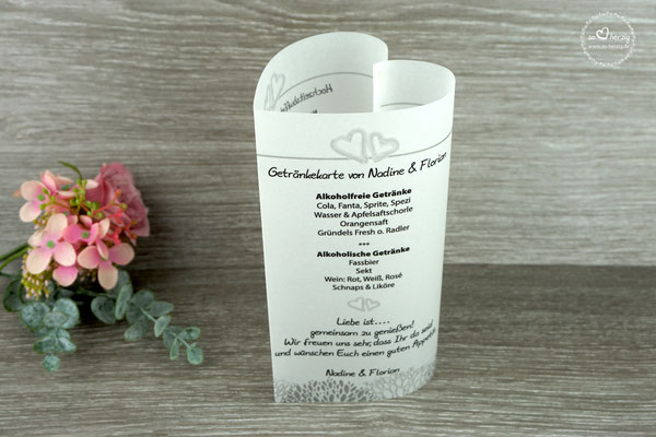 Menü, und Getränkekarte 17cm Design Aquarellherzen Grau