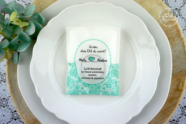 Teelicht-Botschaft Design Romantik, Farbe Mint - Sonderanfertigung