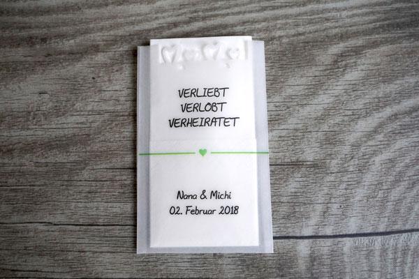 "Freudentränen Taschentücher Flach, Herzrand, Design ""Herzband"""