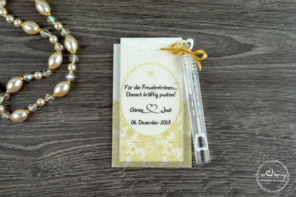 Freudentränen Taschentücher aus Pergamentpapier mit Herzrand & Bubbles, Design Romantik Goldfarben