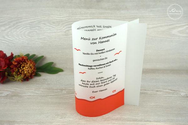 Menükarte Fischform 17cm hoch, Design Fisch Silhouette Rot