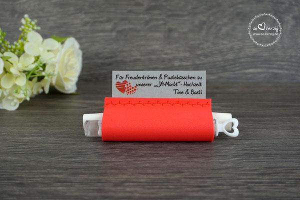 """Freudentränen Taschentücher Moosgummi rot mit Bubbles, Design """"zwei Herzen"""" rot"""