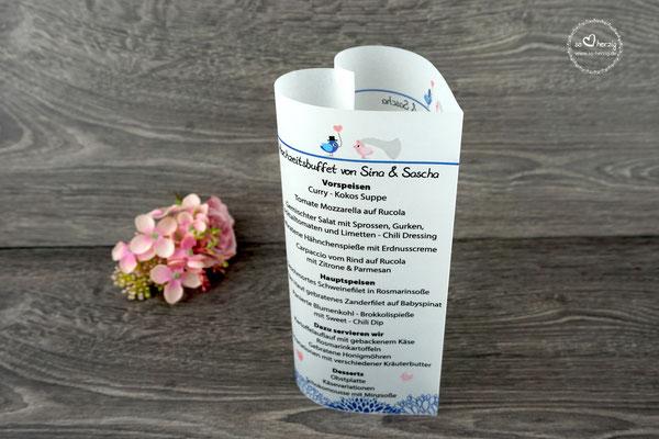 Menükarten Design Hochzeitsvögel Royalblau/Puderrosa - Sonderanfertigung