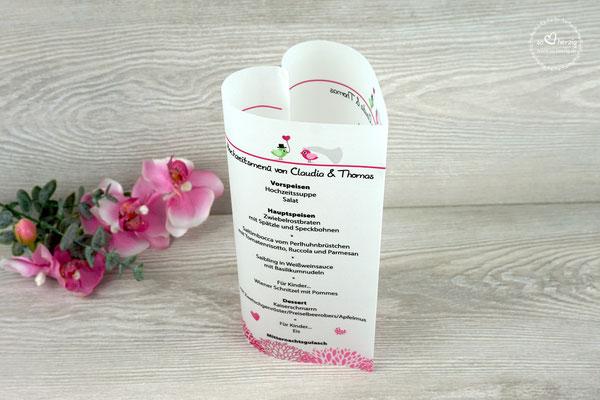 Menükarte 17cm Hochzeitsvögel Pink/Grün - Schrift Julius B Thyssen
