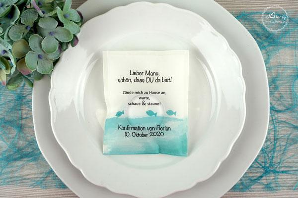 LichtBotschaft Design Fische Türkis - Verpackung als Tischkarte