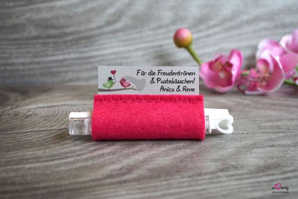 Freudentränen Taschentücher mit Bubbles Filz Pink
