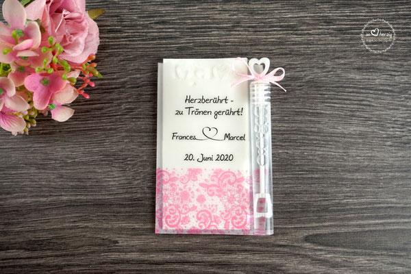 Freudentränen Taschentücher aus Pergamentpapier mit Bubbles, Design Spitzenband Rosa