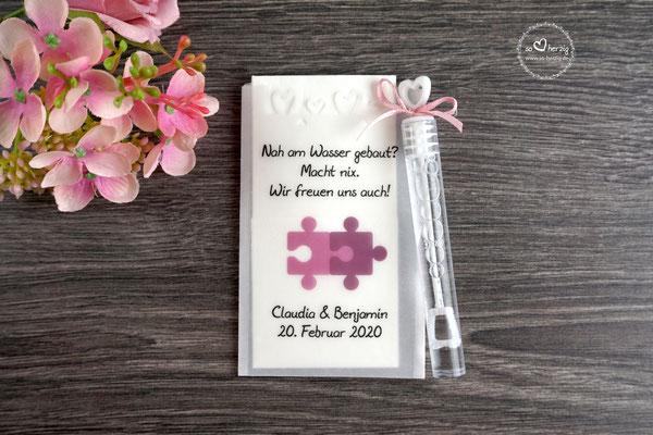 "Freudentränen Taschentücher flach mit Bubbles, Design ""Puzzle"" Rosenholz"