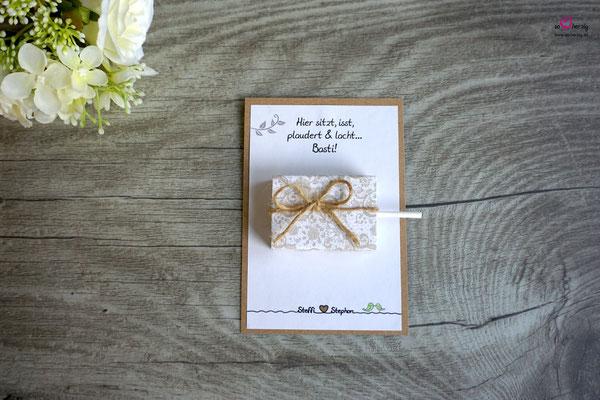 Platzkarte für die Kinder, Lutscher - Hochzeit Steffi & Stephan