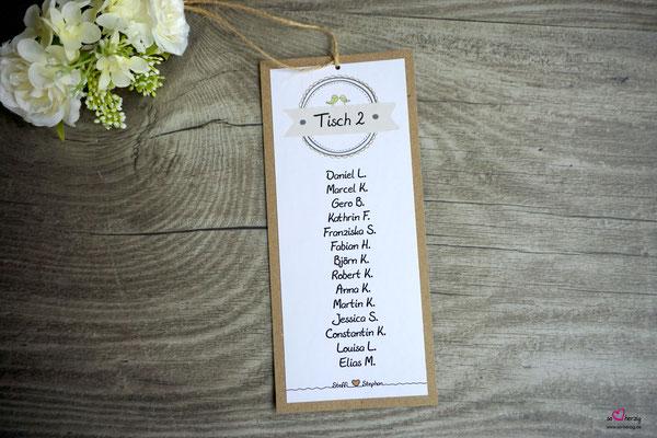 Tischkarten für Leiter - Hochzeit Steffi & Stephan
